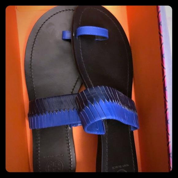 Tory Burch Shoes - Tory Burch Neptune woven blue/black slide sandal